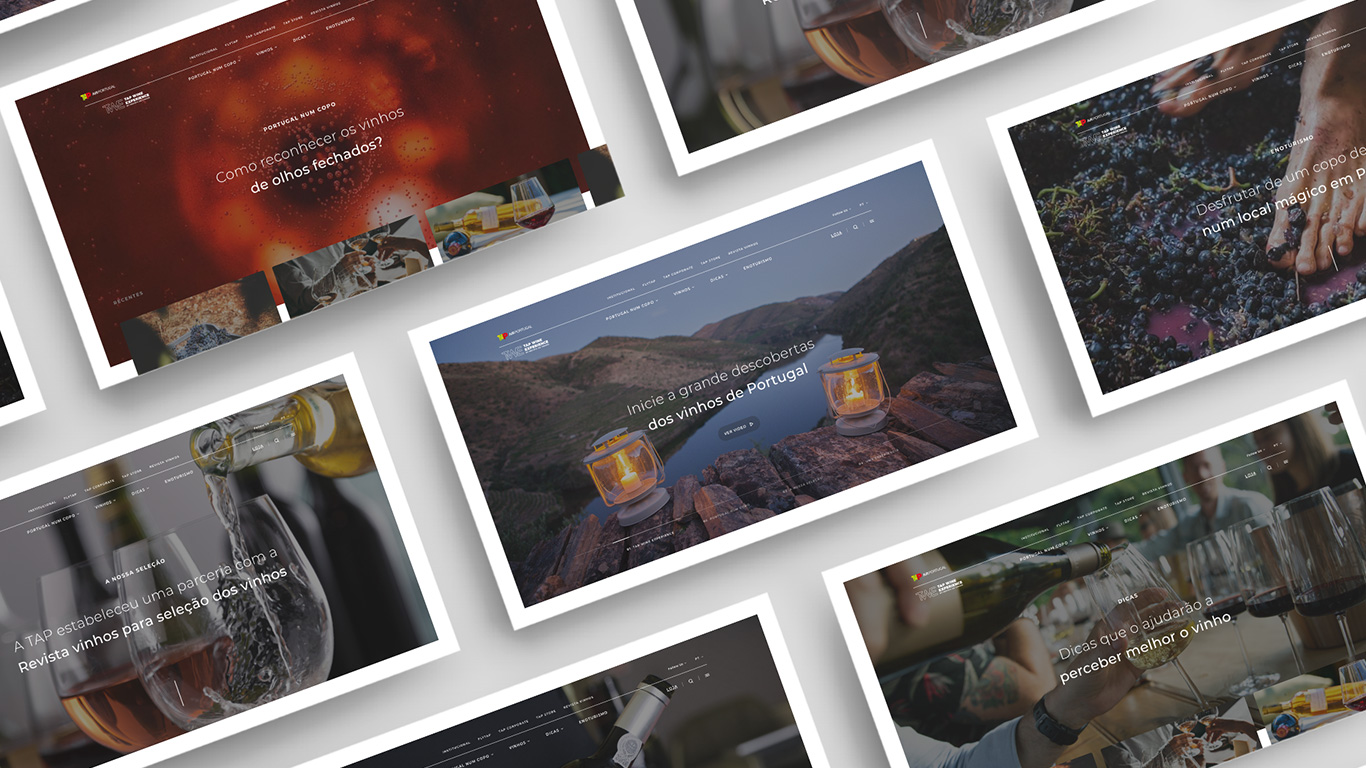 banner applied in tap wine experience website