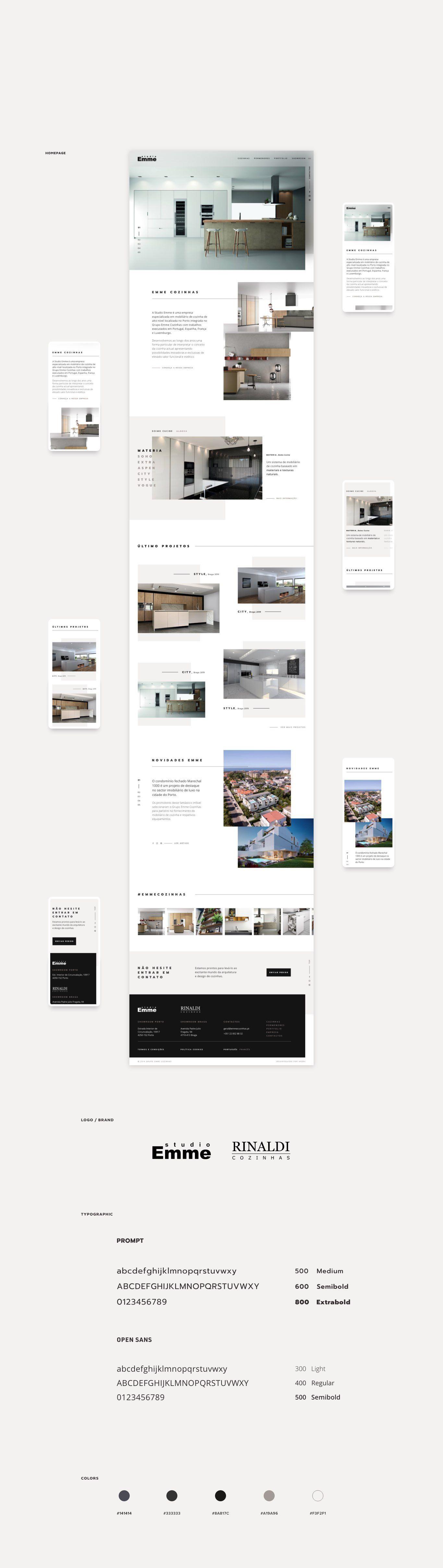 layouts para website da Emme Cozinhas