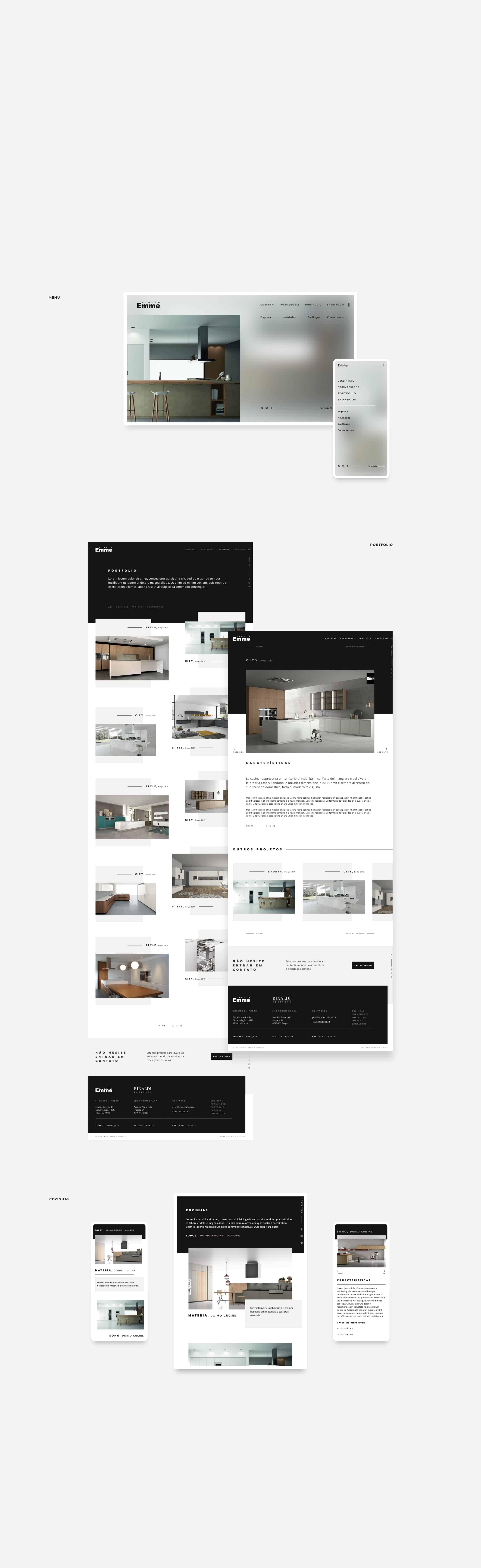 layout do website da Emme Cozinhas
