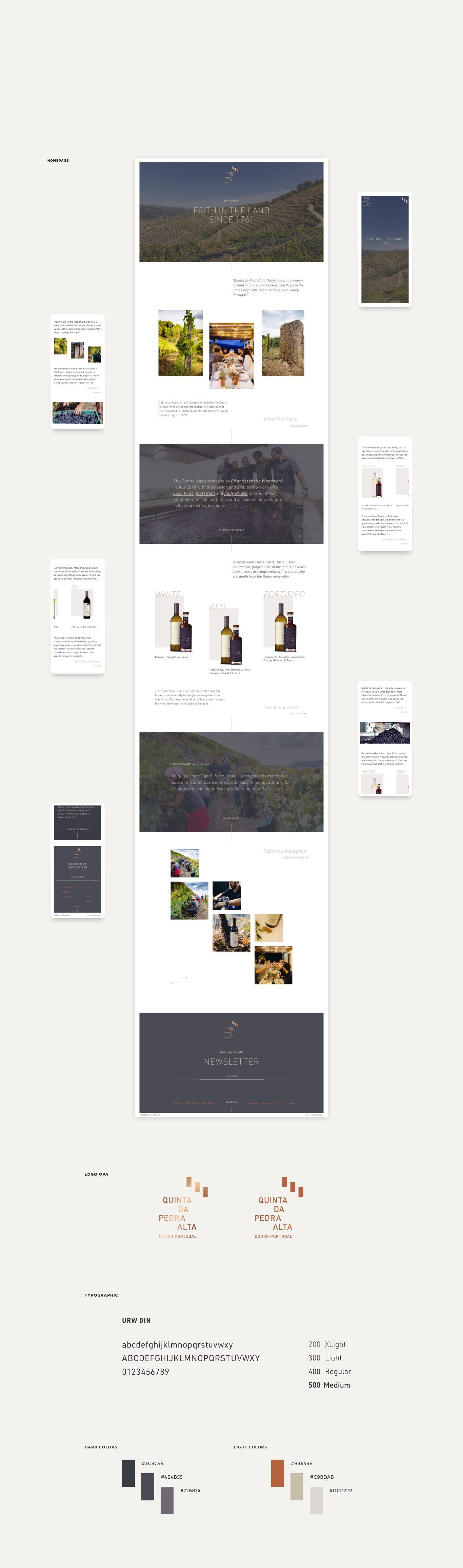 layout for website da QPA Vinhos