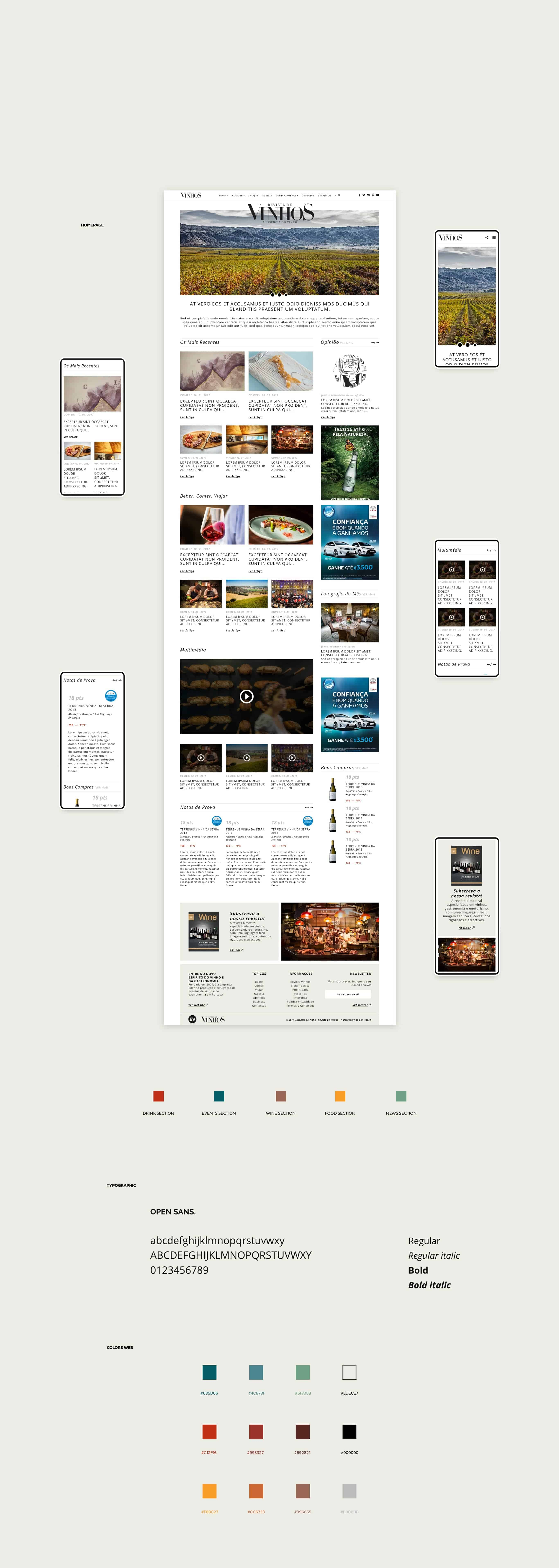 layout para website revista vinhos