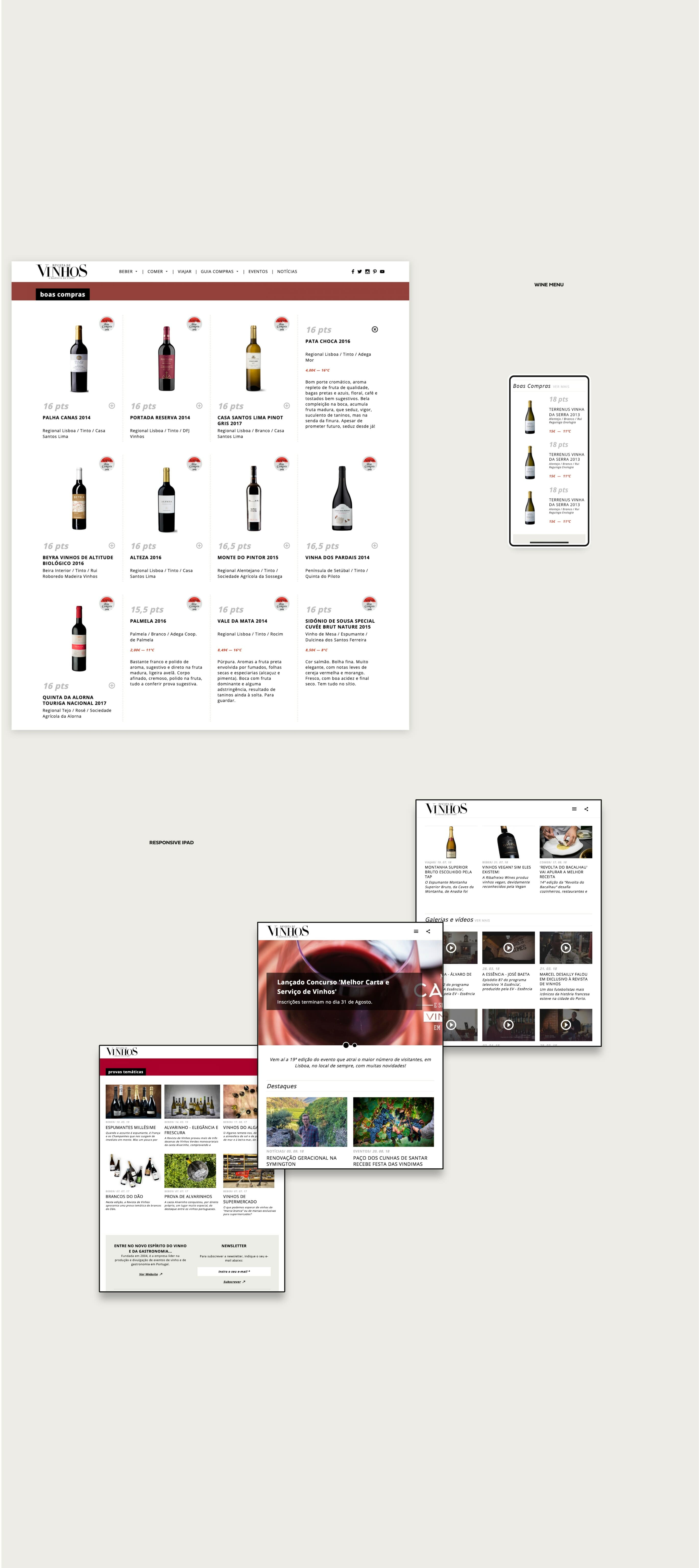 layouts website for wine magazine